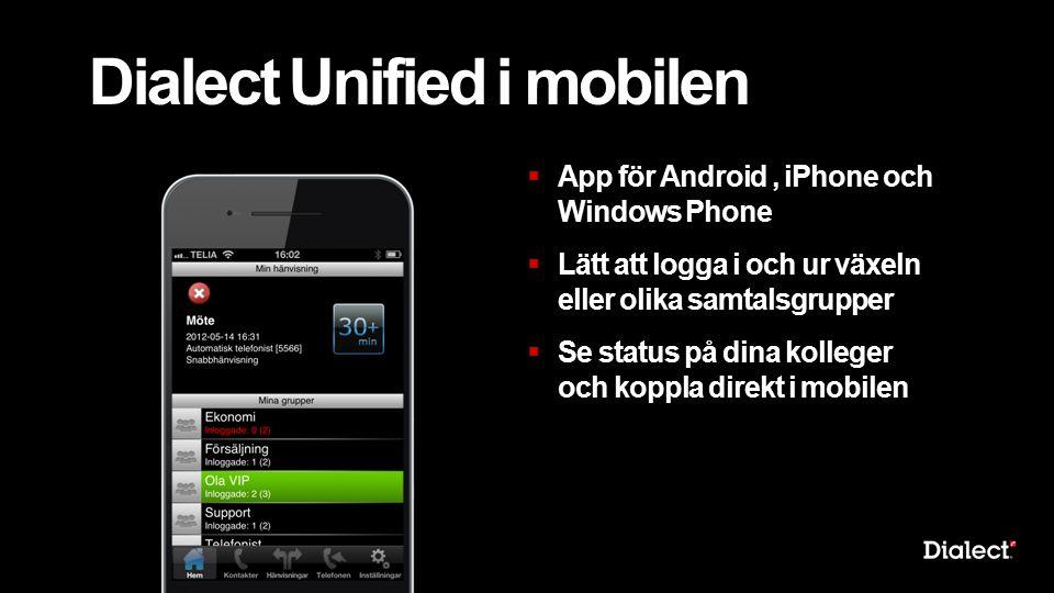 Dialect Unified i mobilen  App för Android, iPhone och Windows Phone  Lätt att logga i och ur växeln eller olika samtalsgrupper  Se status på dina kolleger och koppla direkt i mobilen