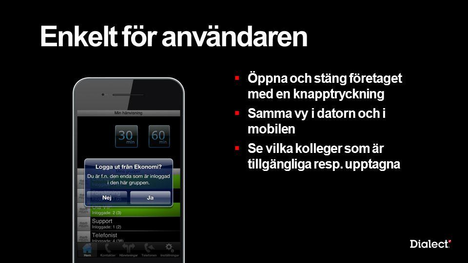 Enkelt för användaren  Öppna och stäng företaget med en knapptryckning  Samma vy i datorn och i mobilen  Se vilka kolleger som är tillgängliga resp.