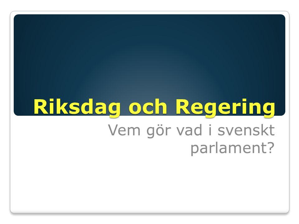Riksdag och Regering Vem gör vad i svenskt parlament?