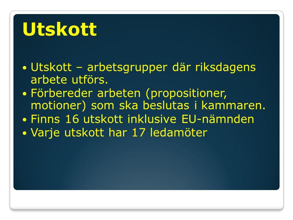 Utskott Utskott – arbetsgrupper där riksdagens arbete utförs.