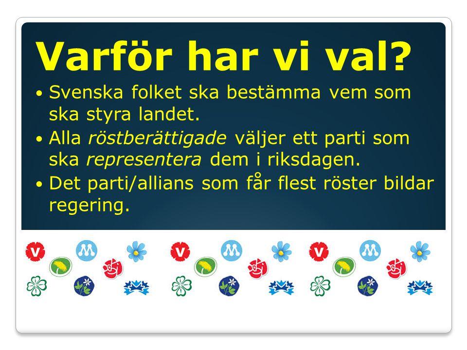 Varför har vi val.Svenska folket ska bestämma vem som ska styra landet.
