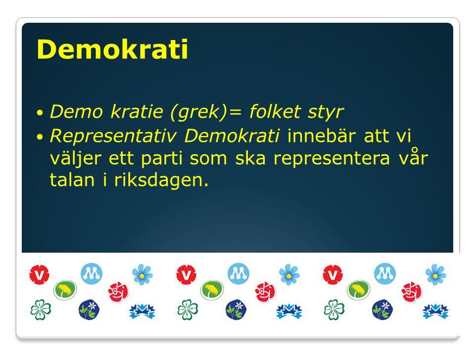 Demokrati Demo kratie (grek)= folket styr Representativ Demokrati innebär att vi väljer ett parti som ska representera vår talan i riksdagen.