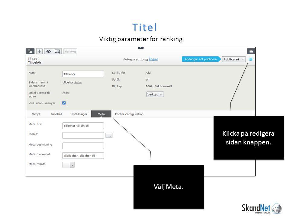Titel Viktig parameter för ranking Klicka på redigera sidan knappen. Välj Meta.