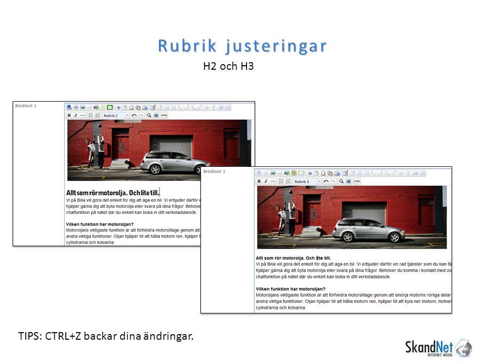 Rubrik justeringar H2 och H3 TIPS: CTRL+Z backar dina ändringar.