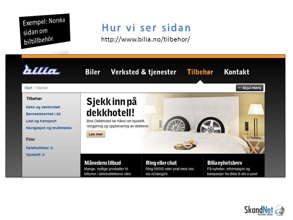 Hur vi ser sidan http://www.bilia.no/tilbehor/