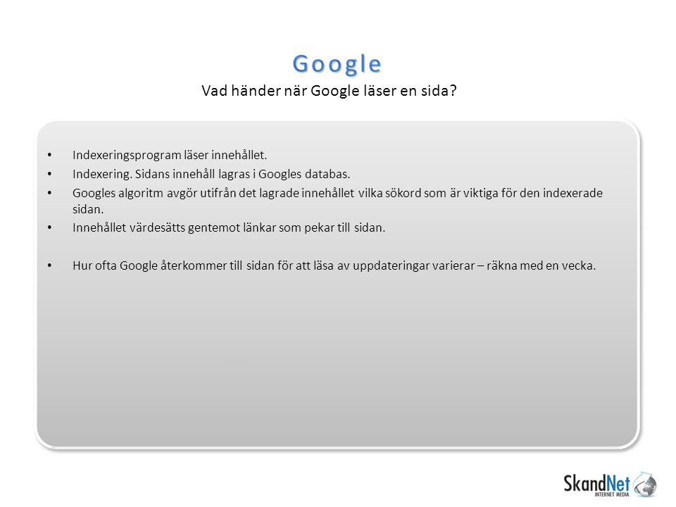 Google syn… http://www.bilia.no/tilbehor/ Keyword density – procentuell förekomst av ord.