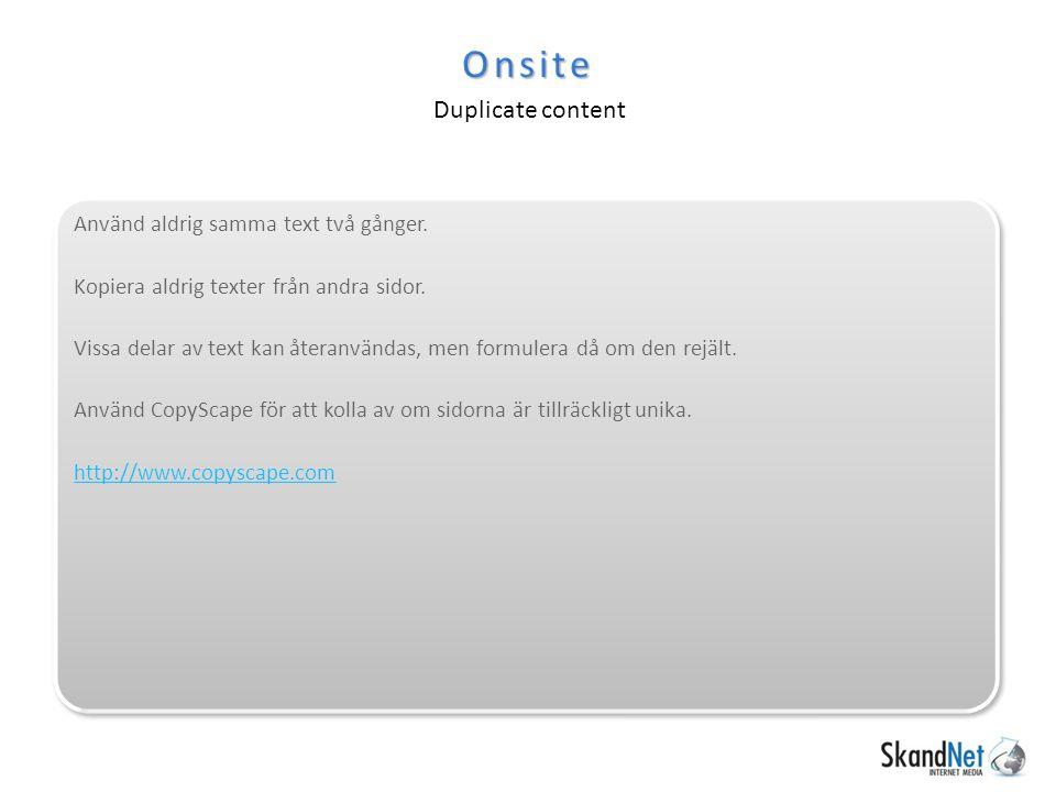 Onsite Duplicate content