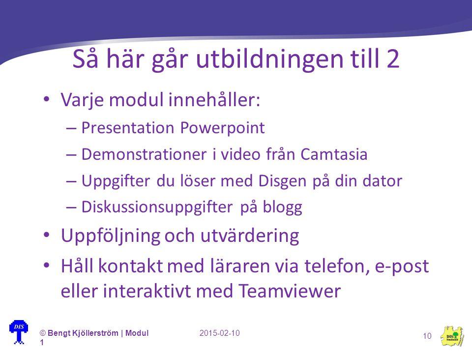 Så här går utbildningen till 2 Varje modul innehåller: – Presentation Powerpoint – Demonstrationer i video från Camtasia – Uppgifter du löser med Disg