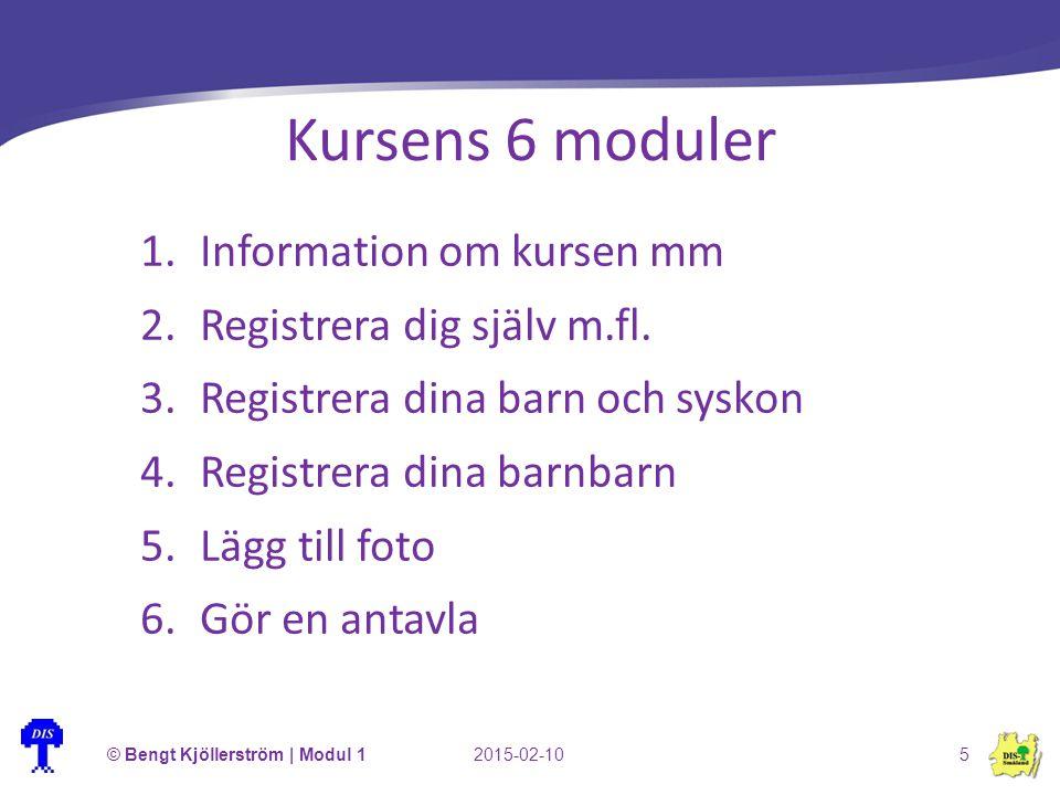 Kursens 6 moduler 1.Information om kursen mm 2.Registrera dig själv m.fl. 3.Registrera dina barn och syskon 4.Registrera dina barnbarn 5.Lägg till fot