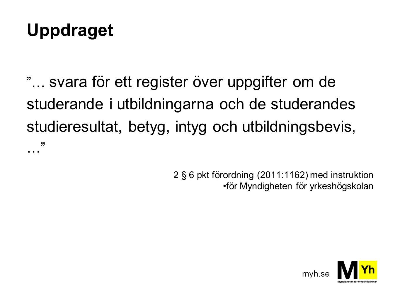 myh.se Uppdraget … svara för ett register över uppgifter om de studerande i utbildningarna och de studerandes studieresultat, betyg, intyg och utbildningsbevis, … 2 § 6 pkt förordning (2011:1162) med instruktion för Myndigheten för yrkeshögskolan