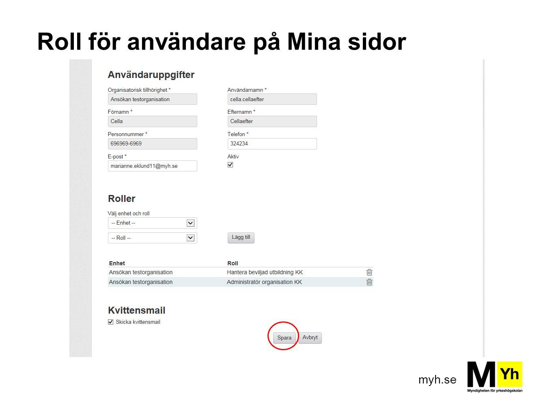 myh.se Roll för användare på Mina sidor