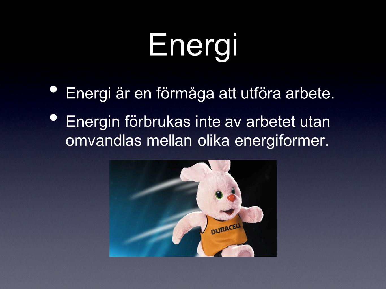 Energi Energi är en förmåga att utföra arbete. Energin förbrukas inte av arbetet utan omvandlas mellan olika energiformer.