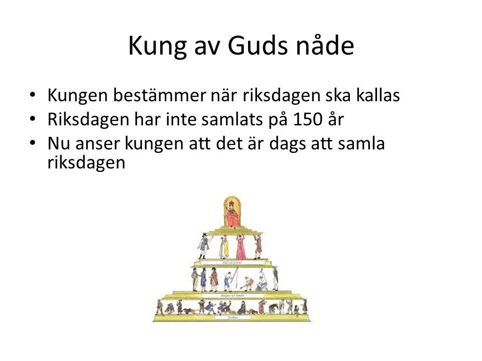 Kung av Guds nåde Kungen bestämmer när riksdagen ska kallas Riksdagen har inte samlats på 150 år Nu anser kungen att det är dags att samla riksdagen