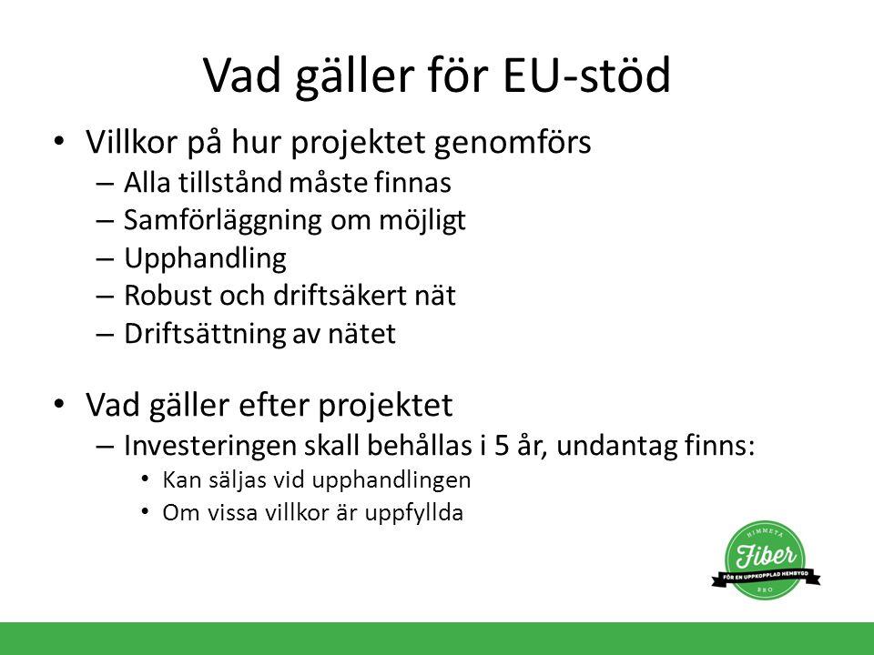 Vad gäller för EU-stöd Villkor på hur projektet genomförs – Alla tillstånd måste finnas – Samförläggning om möjligt – Upphandling – Robust och driftsä