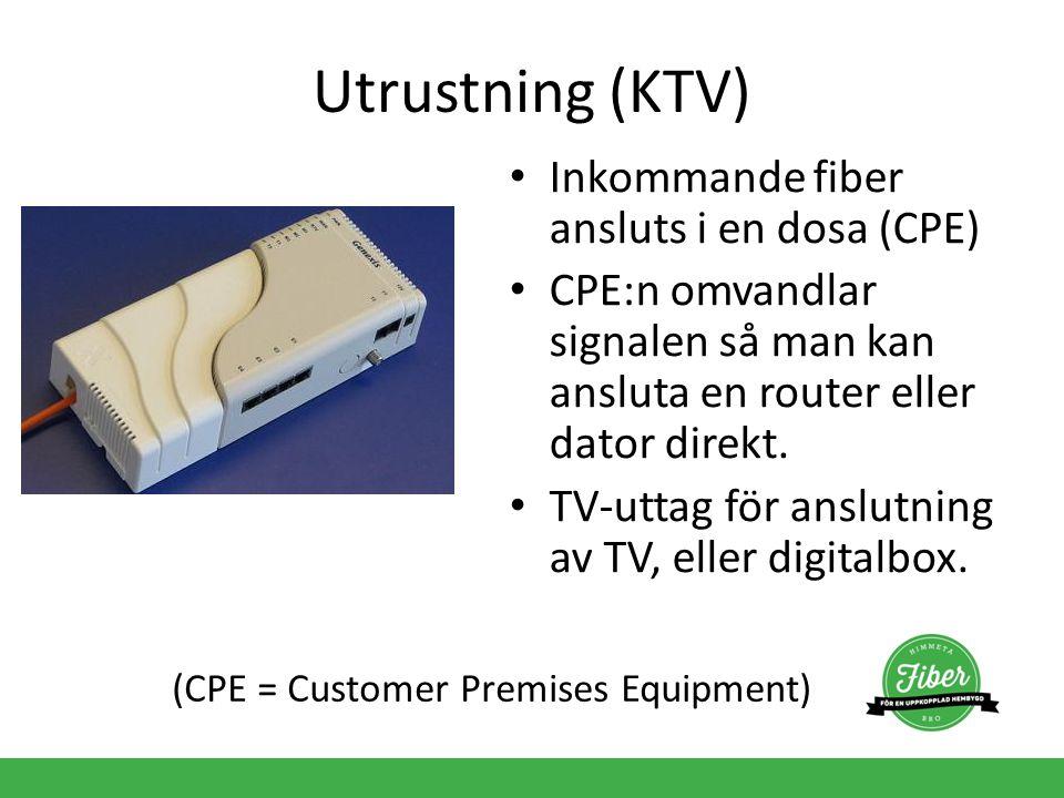Utrustning (KTV) Inkommande fiber ansluts i en dosa (CPE) CPE:n omvandlar signalen så man kan ansluta en router eller dator direkt. TV-uttag för anslu