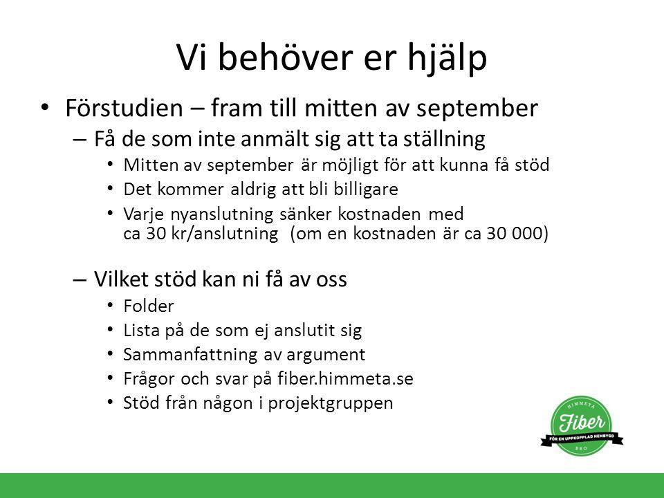 Vi behöver er hjälp Förstudien – fram till mitten av september – Få de som inte anmält sig att ta ställning Mitten av september är möjligt för att kun