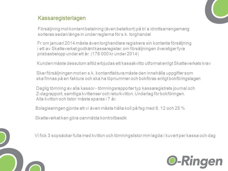 Kassaregisterlagen Försäljning mot kontant betalning (även betalkort) på bl a idrottsarrangemang sorteras sedan länge in under reglerna för s.k.