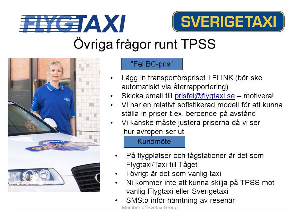 Övriga frågor runt TPSS Lägg in transportörspriset i FLINK (bör ske automatiskt via återrapportering) Skicka email till prisfel@flygtaxi.se – motivera