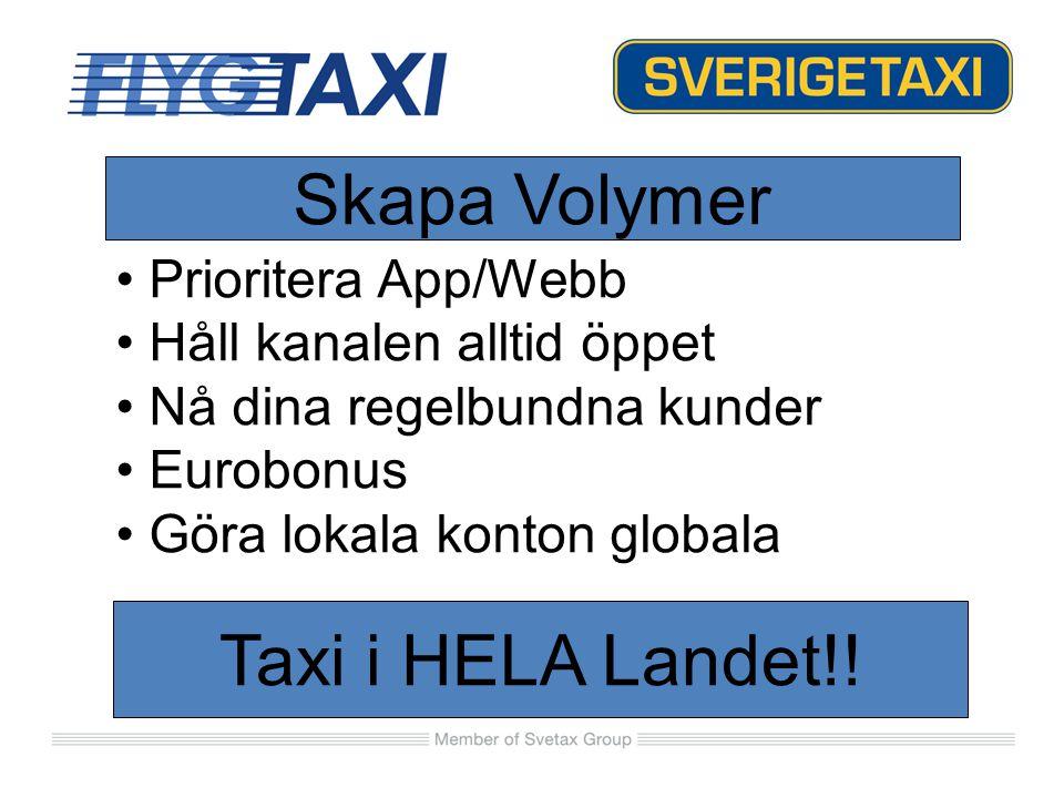 Prioritera App/Webb Håll kanalen alltid öppet Nå dina regelbundna kunder Eurobonus Göra lokala konton globala Taxi i HELA Landet!! Skapa Volymer
