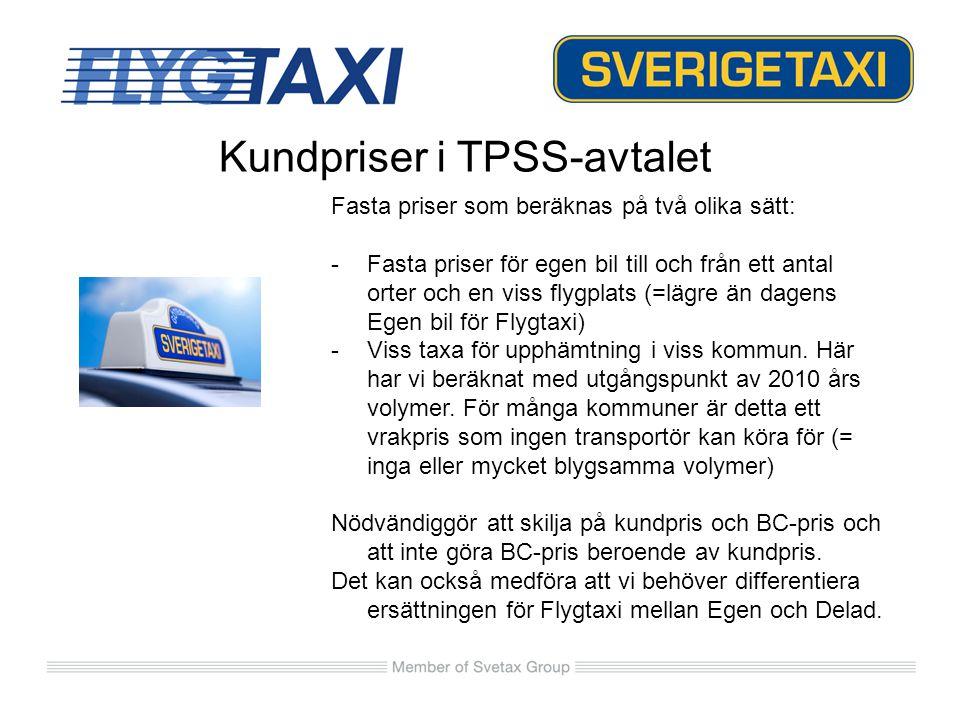 Kundpriser i TPSS-avtalet Fasta priser som beräknas på två olika sätt: -Fasta priser för egen bil till och från ett antal orter och en viss flygplats