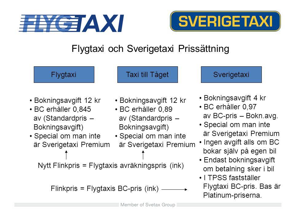 Flygtaxi och Sverigetaxi Prissättning FlygtaxiTaxi till TågetSverigetaxi Bokningsavgift 12 kr BC erhåller 0,845 av (Standardpris – Bokningsavgift) Spe
