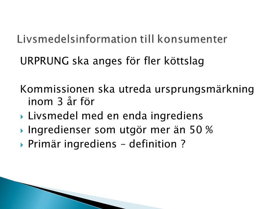 URPRUNG ska anges för fler köttslag Kommissionen ska utreda ursprungsmärkning inom 3 år för  Livsmedel med en enda ingrediens  Ingredienser som utgör mer än 50 %  Primär ingrediens – definition
