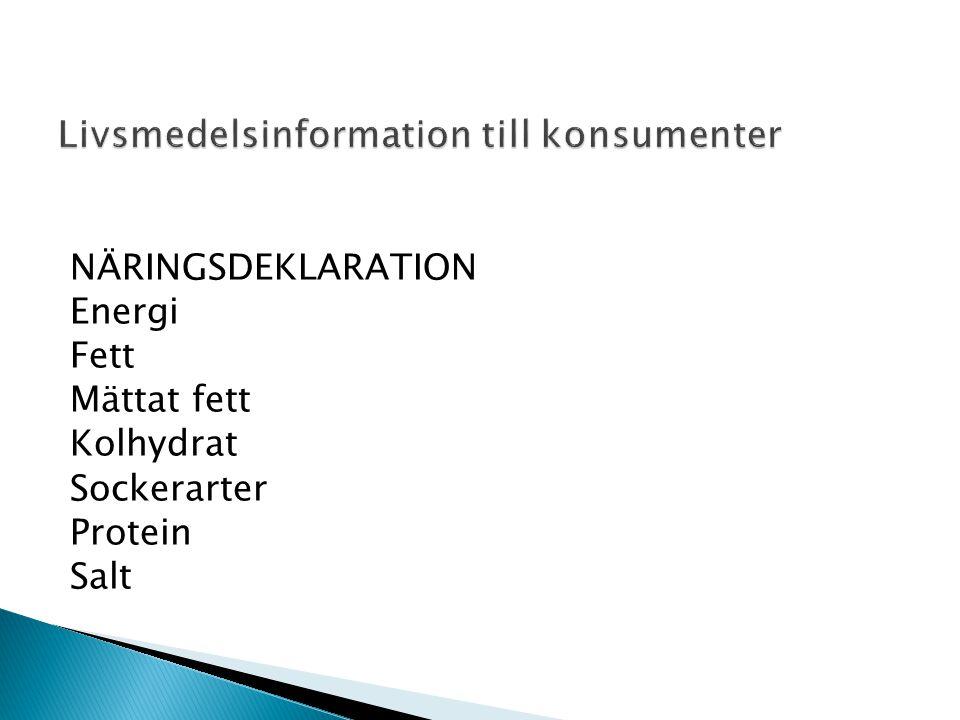 NÄRINGSDEKLARATION Energi Fett Mättat fett Kolhydrat Sockerarter Protein Salt