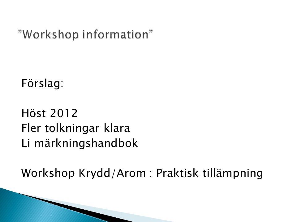 Förslag: Höst 2012 Fler tolkningar klara Li märkningshandbok Workshop Krydd/Arom : Praktisk tillämpning