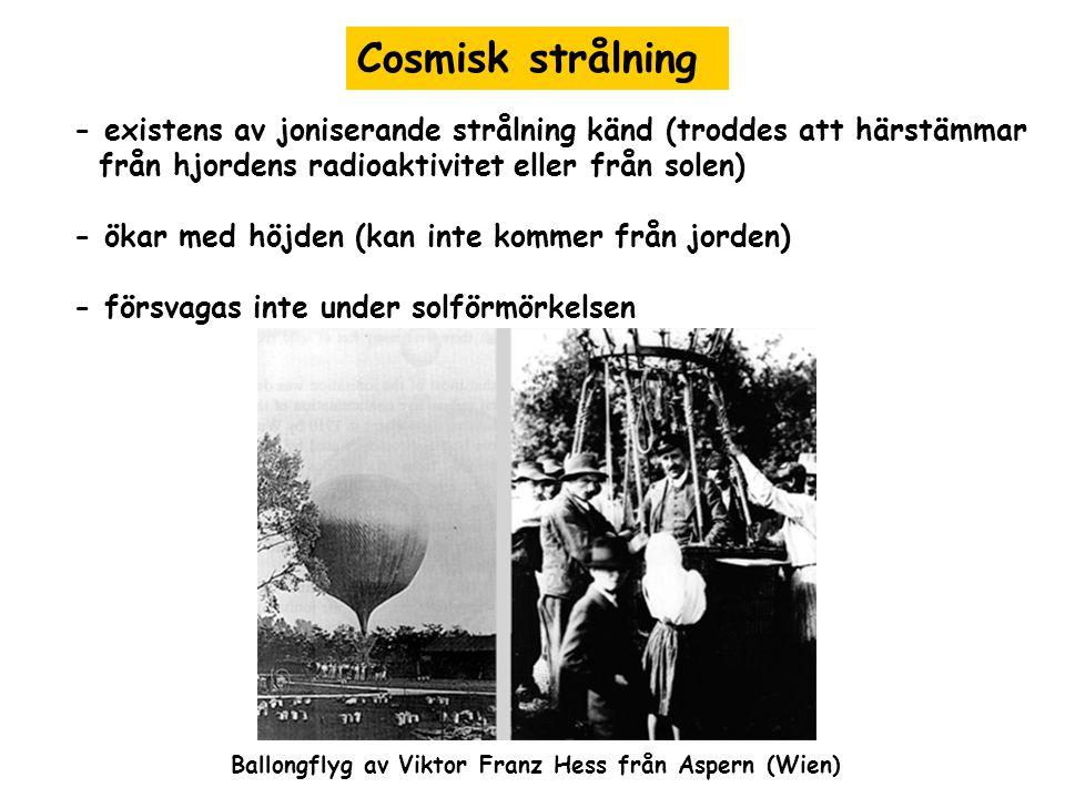 Cosmisk strålning - existens av joniserande strålning känd (troddes att härstämmar från hjordens radioaktivitet eller från solen) - ökar med höjden (kan inte kommer från jorden) - försvagas inte under solförmörkelsen Ballongflyg av Viktor Franz Hess från Aspern (Wien)