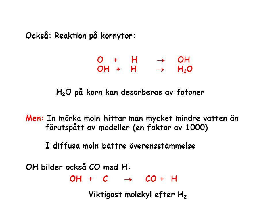 Också: Reaktion på kornytor: O + H  OH OH + H  H 2 O H 2 O på korn kan desorberas av fotoner Men: In mörka moln hittar man mycket mindre vatten än f