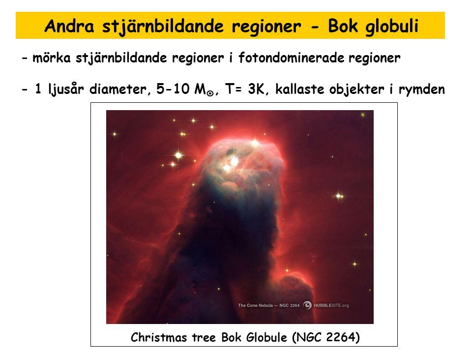 Andra stjärnbildande regioner - Bok globuli - mörka stjärnbildande regioner i fotondominerade regioner - 1 ljusår diameter, 5-10 M , T= 3K, kallaste