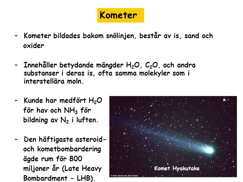 –Kometer bildades bakom snölinjen, består av is, sand och oxider –Innehåller betydande mängder H 2 O, C 2 O, och andra substanser i deras is, ofta samma molekyler som i interstellära moln.