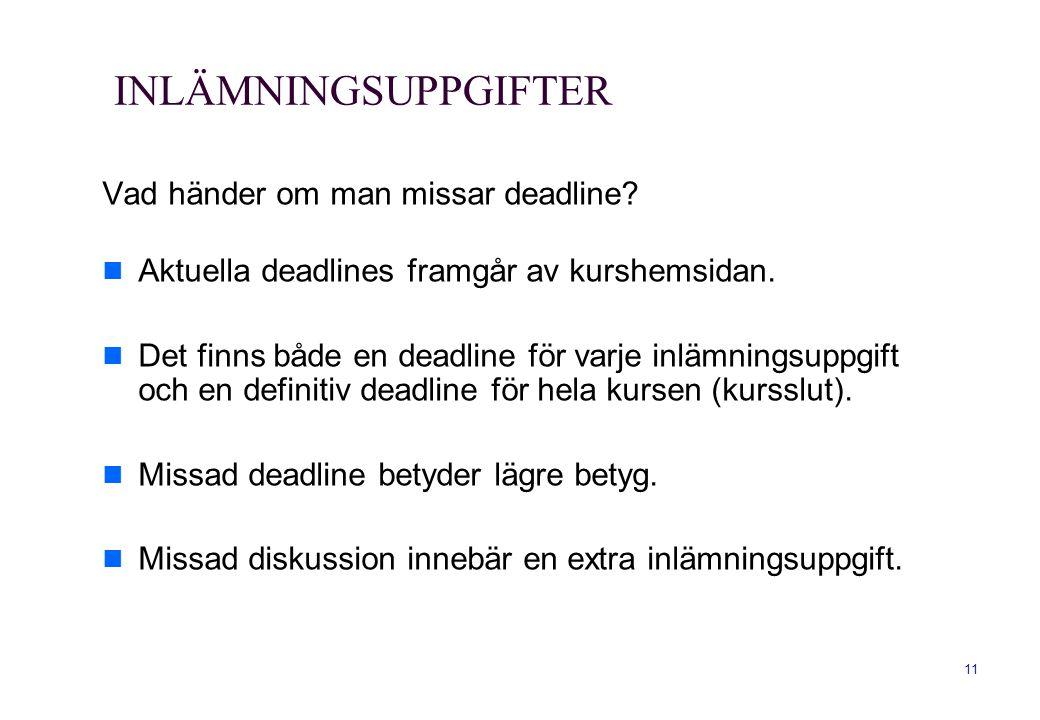 11 INLÄMNINGSUPPGIFTER Vad händer om man missar deadline? Aktuella deadlines framgår av kurshemsidan. Det finns både en deadline för varje inlämningsu