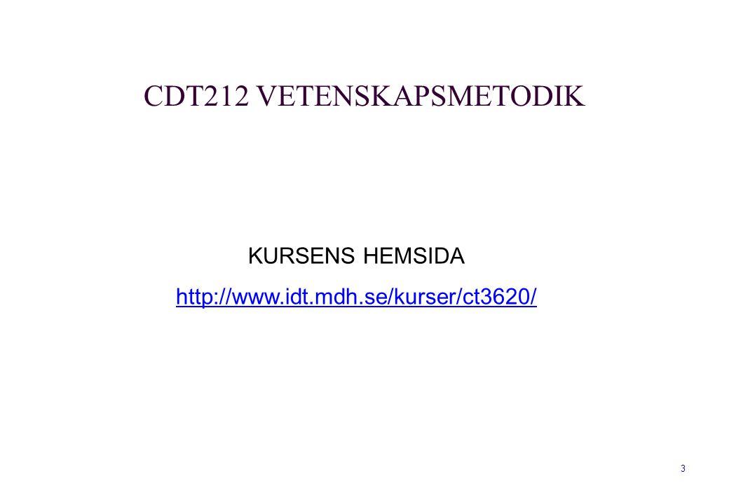 3 KURSENS HEMSIDA http://www.idt.mdh.se/kurser/ct3620/ CDT212 VETENSKAPSMETODIK