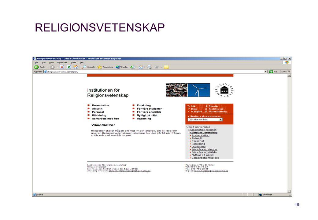 48 RELIGIONSVETENSKAP