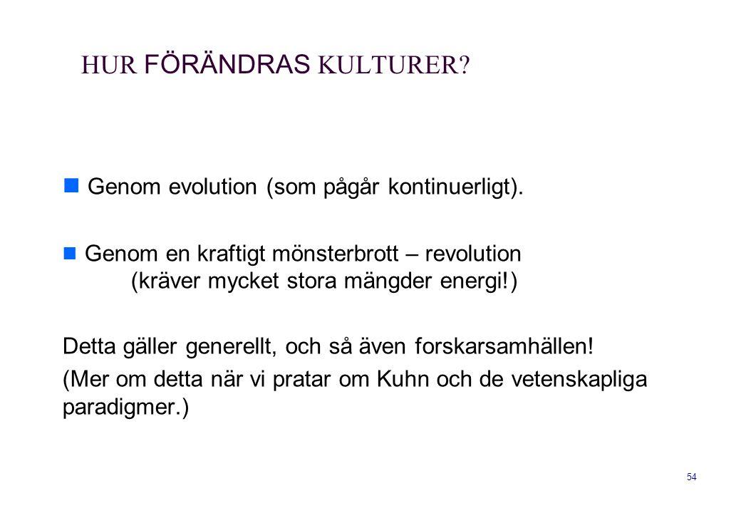 54 HUR FÖRÄNDRAS KULTURER? Genom evolution (som pågår kontinuerligt). Genom en kraftigt mönsterbrott – revolution (kräver mycket stora mängder energi!