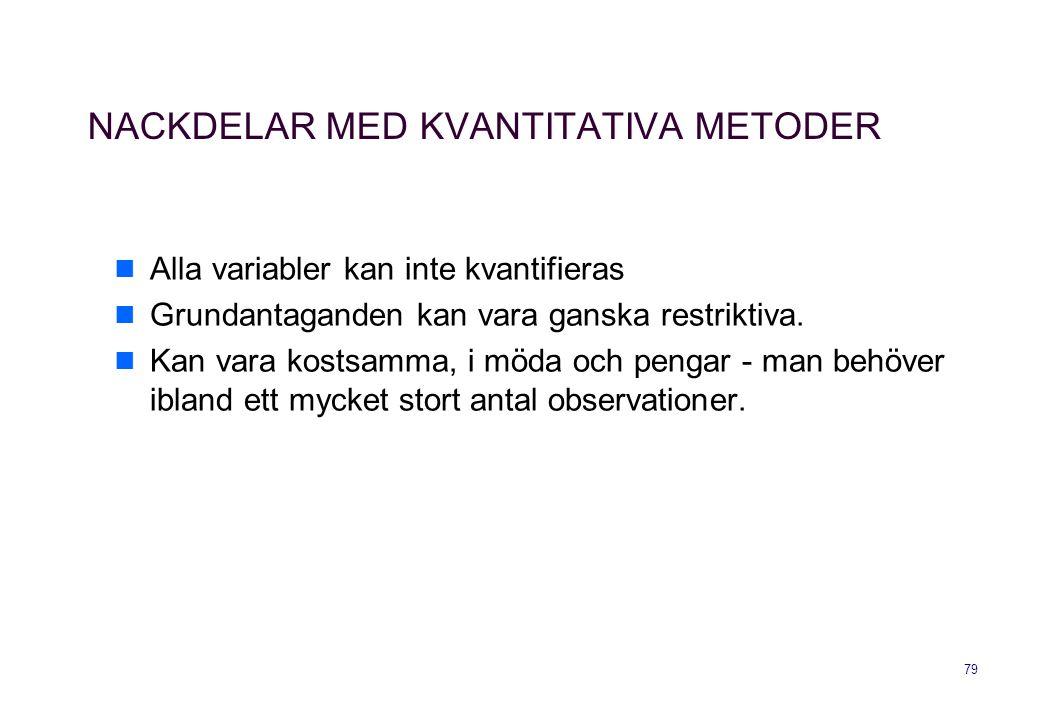 79 NACKDELAR MED KVANTITATIVA METODER Alla variabler kan inte kvantifieras Grundantaganden kan vara ganska restriktiva. Kan vara kostsamma, i möda och