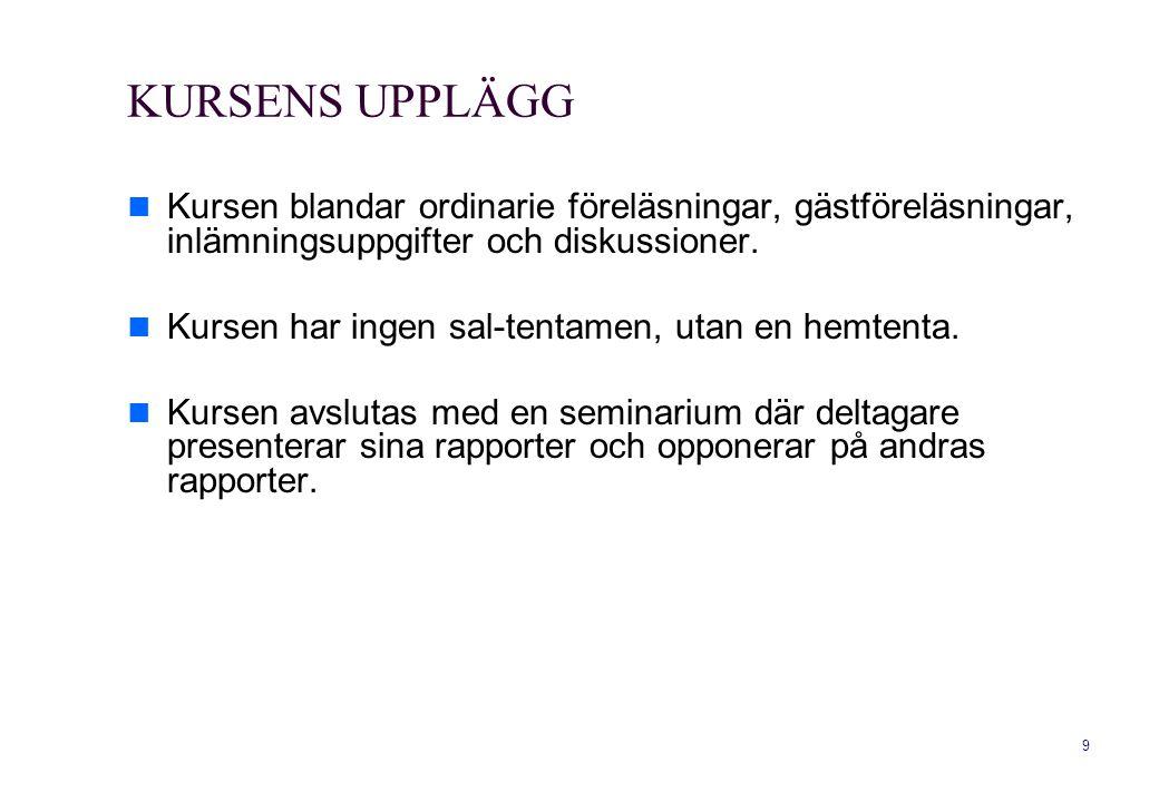 10 KURSLITTERATUR Kursens hemsida.Bredvidläsningsmaterial som finns på kurshemsidan, bl.