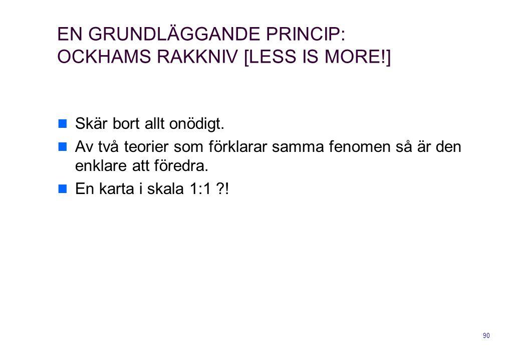 90 EN GRUNDLÄGGANDE PRINCIP: OCKHAMS RAKKNIV [LESS IS MORE!] Skär bort allt onödigt. Av två teorier som förklarar samma fenomen så är den enklare att