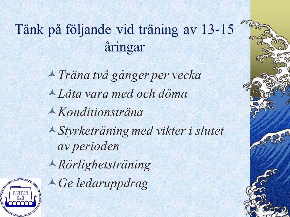 Tänk på följande vid träning av 13-15 åringar Träna två gånger per vecka Låta vara med och döma Konditionsträna Styrketräning med vikter i slutet av p