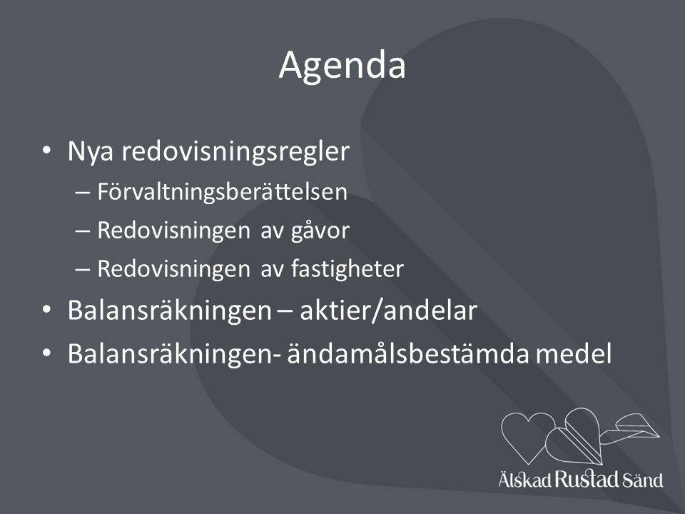 Agenda Nya redovisningsregler – Förvaltningsberättelsen – Redovisningen av gåvor – Redovisningen av fastigheter Balansräkningen – aktier/andelar Balansräkningen- ändamålsbestämda medel
