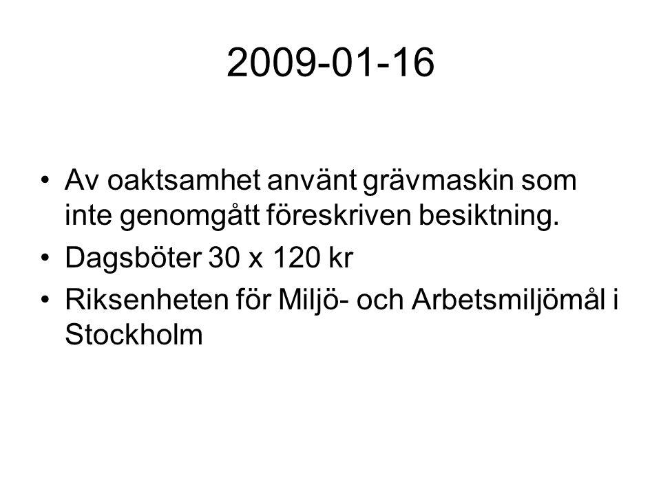2009-01-16 Av oaktsamhet använt grävmaskin som inte genomgått föreskriven besiktning. Dagsböter 30 x 120 kr Riksenheten för Miljö- och Arbetsmiljömål