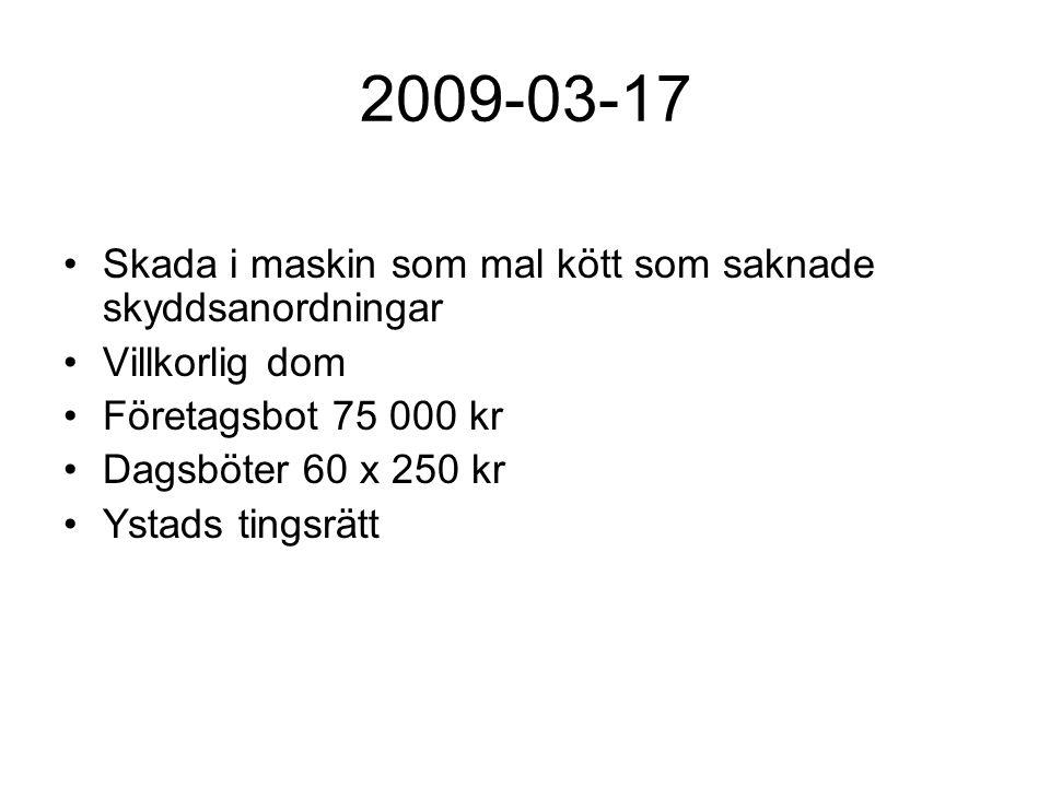 2009-03-17 Skada i maskin som mal kött som saknade skyddsanordningar Villkorlig dom Företagsbot 75 000 kr Dagsböter 60 x 250 kr Ystads tingsrätt