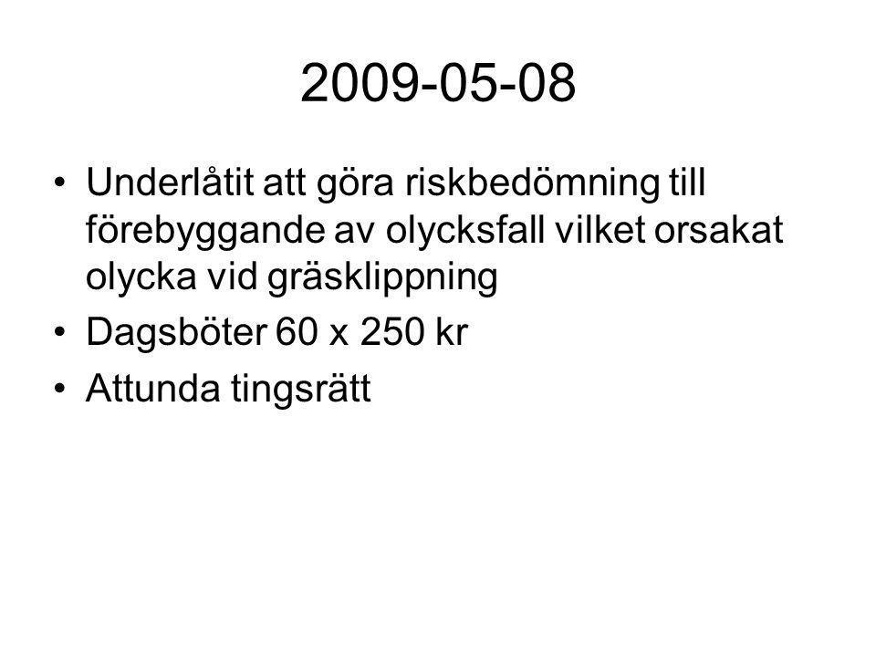 2009-05-08 Underlåtit att göra riskbedömning till förebyggande av olycksfall vilket orsakat olycka vid gräsklippning Dagsböter 60 x 250 kr Attunda tin