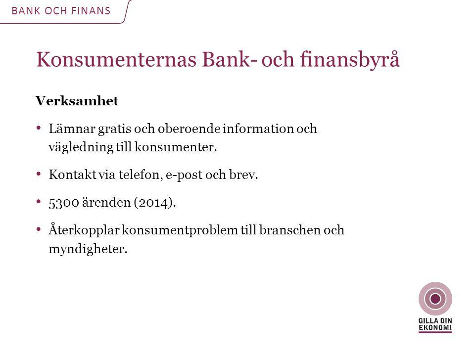 Konsumenternas Bank- och finansbyrå Verksamhet Lämnar gratis och oberoende information och vägledning till konsumenter. Kontakt via telefon, e-post oc
