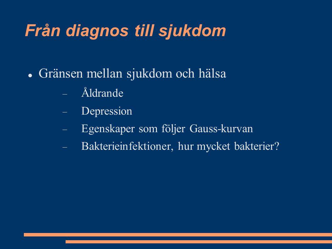 Från diagnos till sjukdom Gränsen mellan sjukdom och hälsa  Åldrande  Depression  Egenskaper som följer Gauss-kurvan  Bakterieinfektioner, hur myc