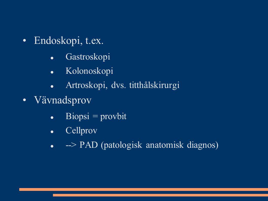 Endoskopi, t.ex. Gastroskopi Kolonoskopi Artroskopi, dvs. titthålskirurgi Vävnadsprov Biopsi = provbit Cellprov --> PAD (patologisk anatomisk diagnos)