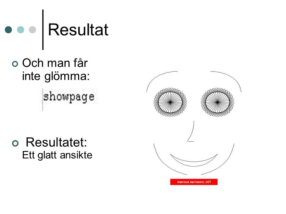 Resultat Och man får inte glömma: Resultatet: Ett glatt ansikte