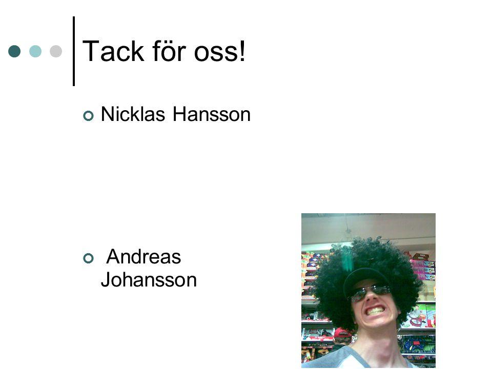 Tack för oss! Nicklas Hansson Andreas Johansson