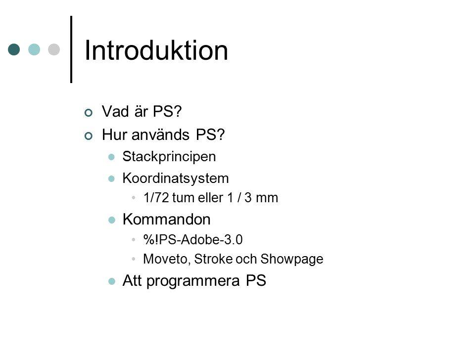 Introduktion Vad är PS? Hur används PS? Stackprincipen Koordinatsystem 1/72 tum eller 1 / 3 mm Kommandon %!PS-Adobe-3.0 Moveto, Stroke och Showpage At